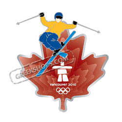 Vancouver 2010 Clear Red Leaf Skier Pin