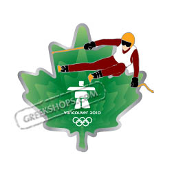 Vancouver 2010 Clear Green Leaf Skier Pin