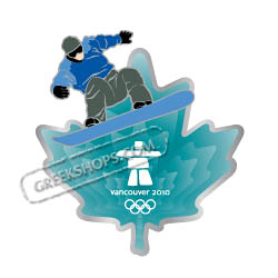 Vancouver 2010 Clear Aqua Leaf Snowboarder Pin