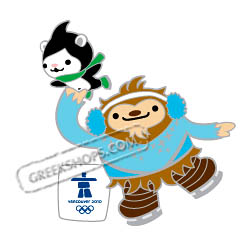 Vancouver 2010 Mascots Quatchi and Miga Figure Skating Pin