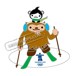 Vancouver 2010 Mascots Quatchi and Miga Biathlon Pin