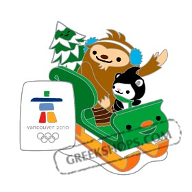 Vancouver 2010 LIMITED EDITION Mascots on Sled Pin