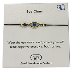 The Filia Bracelet Collection:: Greek Evil Eye Charm Adjustable Macrame Black Bracelet
