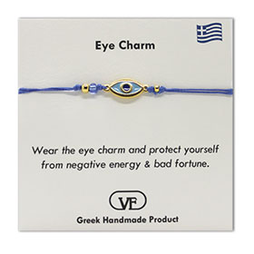 The Filia Bracelet Collection:: Greek Evil Eye Charm Adjustable Macrame Blue Bracelet