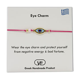 The Filia Bracelet Collection:: Greek Evil Eye Charm Adjustable Macrame Pink Bracelet