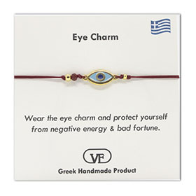 The Filia Bracelet Collection:: Greek Evil Eye Charm Adjustable Macrame Red Bracelet