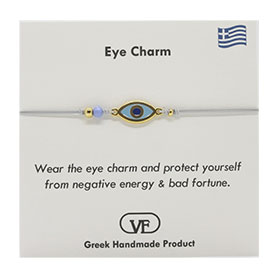The Filia Bracelet Collection:: Greek Evil Eye Charm Adjustable Macrame Silver Tone Bracelet