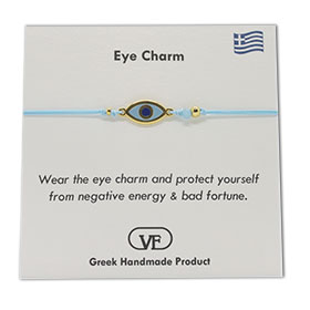 The Filia Bracelet Collection:: Greek Evil Eye Charm Adjustable Macrame Turqoise Bracelet