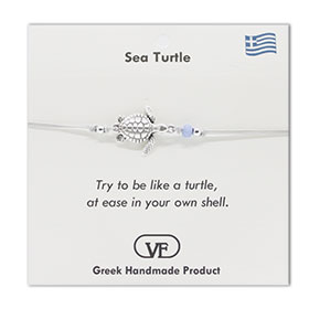 The Filia Bracelet Collection:: Greek Turtle adjustable Macrame Silver Color Bracelet