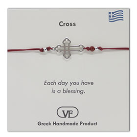 The Filia Bracelet Collection:: Greek Cross Adjustable Macrame Red Bracelet