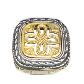 Palaiologan Collection - 24k Gold Plated Sterling Silver Ring - Cross on Rounded Square