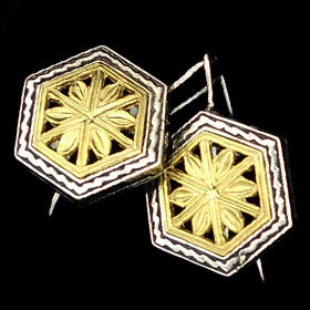 Palaiologan Collection - 24k Gold Plated Sterling Silver Earrings - Leaf Design on Hexagon