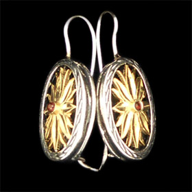Palaiologan Collection - 24k Gold Plated Sterling Silver Earrings - Leaf Design on Oval