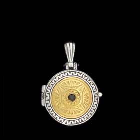 Palaiologan Collection - 24k Gold Plated Sterling Silver Pendant - Circular