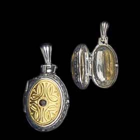 Palaiologan Collection - 24k Gold Plated Sterling Silver Pendant - Oval Locket