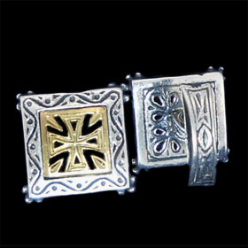 Palaiologan Collection - 24k Gold Plated Sterling Silver Cufflinks - Byzantine Cross Square Design