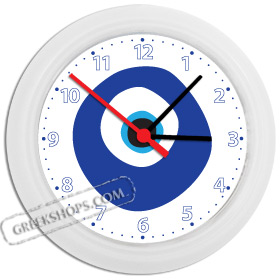Greek Time - Greek Mati Evil Eye Wall Clock