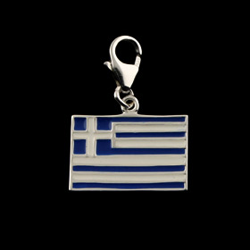 Sterling Silver Charm - Greek Flag (16mm)