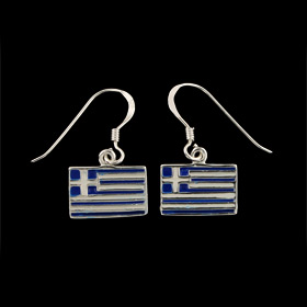 Sterling Silver Hook Earrings - Enamel Greek Flag (12mm)