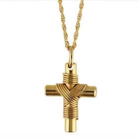 Gold Plated Stainless Steel Greek Cross (19 mm x 31.7 mm)