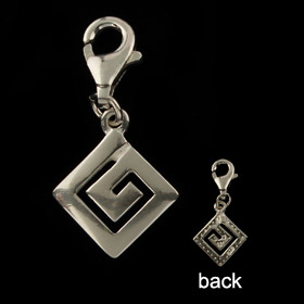 Sterling Silver Charm - Greek Key Motif (9mm)