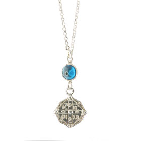 Sterling Silver Rear-View Mirror Charm - Square Byzantine Greek Orthodox Cross, En touto Nika