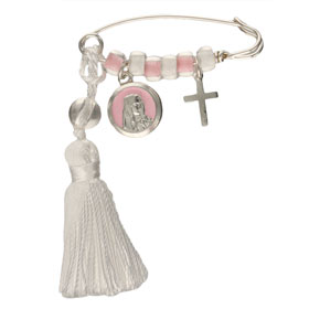 Sterling Silver Baby Girl Safety Pin w/ Virgin Mary and Cross Charms