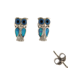 The Neptune Collection - Sterling Silver Earrings - Owl and Opal (12mm)