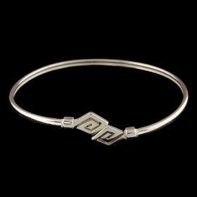 Sterling Silver Cuff Bracelet - Diamond Shape Greek Key