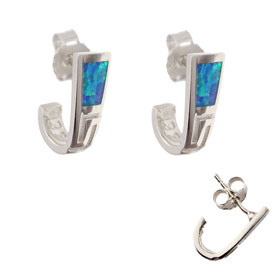 The Neptune Collection - Sterling Silver Post Earrings - Greek Key and Opal (15mm)