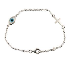 The Amphitrite Collection - Platinum Plated Sterling Silver Bracelet - Mother of Pearl Mati & Cross