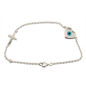The Amphitrite Collection - Platinum Plated Sterling Silver Bracelet - Mother of Pearl Heart Mati