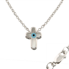 The Amphitrite Collection - Platinum Plated Sterling Silver Necklace - Mother of Pearl Cross (10mm)