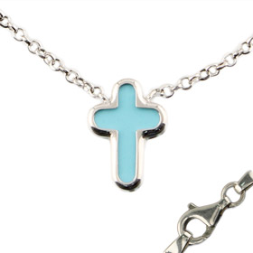 The Amphitrite Collection - Platinum Plated Sterling Silver Necklace - Turquoise Cross (10mm)