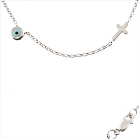The Amphitrite Collection - Platinum Plated Sterling Silver Necklace - Mother of Pearl Mati  (5mm)