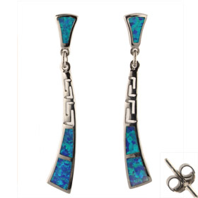 The Neptune Collection - Sterling Silver Earrings - Greek Key and Opal (45mm)