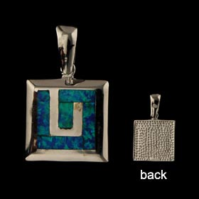 The Neptune Collection - Sterling Silver Pendant - Rectangle w/ Greek Key & Opal (15mm)