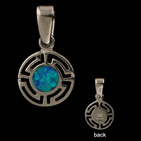 The Neptune Collection - Sterling Silver Pendant - Circle w/ Greek Key & Opal (11mm)