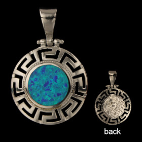 The Neptune Collection - Sterling Silver Pendant - Circle w/ Greek Key & Opal (26mm)