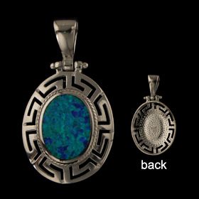 The Neptune Collection - Sterling Silver Pendant - Oval w/ Greek Key & Opal (30mm)