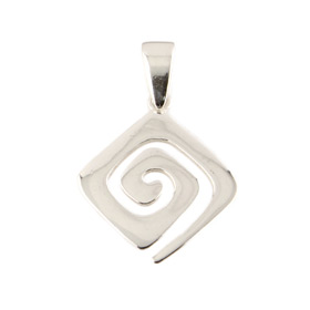 Sterling Silver Pendant - Greek Key Motif Rounded (17mm)