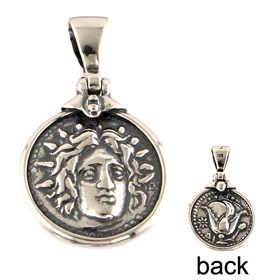 Sterling Silver Pendant - Helios God of the Sun Ancient Coin Tetradrachm Replica (20mm)