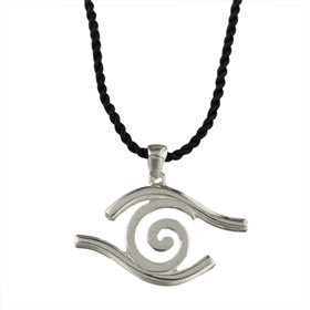 Sterling Silver Pendant w/ Leather Cord - Swirl w/ Evil Eye Border (35mm)