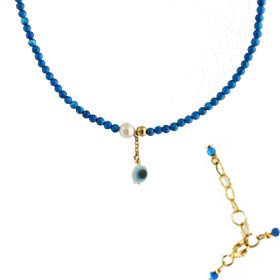 The Nefeli Collection - Turquoise Necklace with Mother of Pearl and Evil Eye (2mm beads)