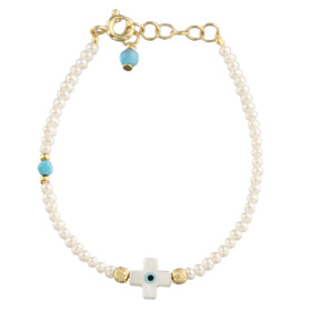 The Nefeli Collection - Pearl Bracelet with Mother of Pearl White Cross And Evil Eye (2mm beads)