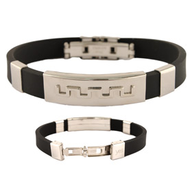 Rubber and Stainless Steel Bracelet with Accordion Hinge Opening - Greek Key Motif