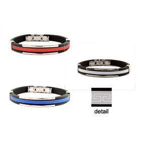 Rubber and Stainless Steel Bracelet with Accordion Hinge Opening - Greek Key Motif (3 Color Options)
