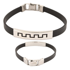 Rubber and Stainless Steel Bracelet - Greek Key Motif Cut Out
