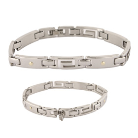Stainless Steel Bracelet - Greek Key Motif Links
