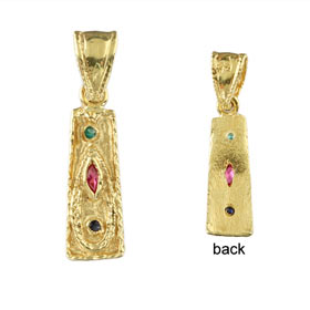 Justinian Collection - 24k Gold Plated Sterling Silver Pendant - Tall Rectangle w/ Cubic Zirconia (2